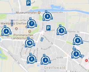 Übersicht Parkplätze Greifswald