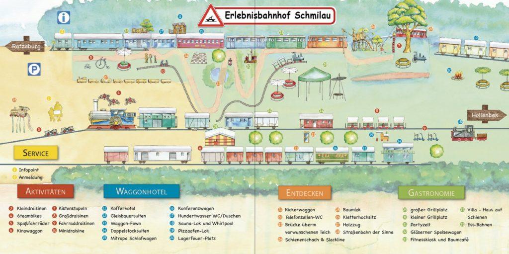 Übersichtsplan Erlebnisbahnhof Schmilau